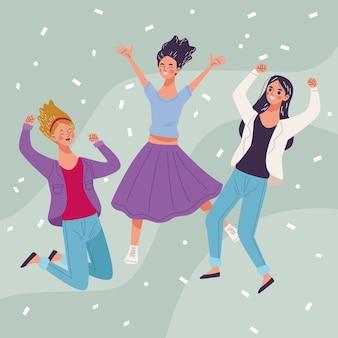 Groep van drie mooie jonge vrouwenkarakters die illustratie vieren