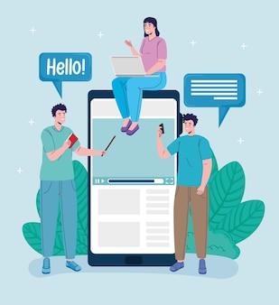 Groep van drie studenten die het ontwerp van de online onderwijsillustratie verbinden