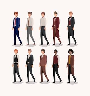 Groep van elegants heren vector illustratie ontwerp