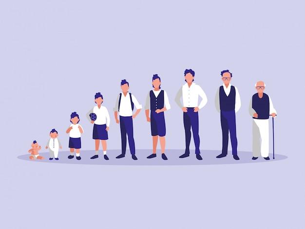 Groep van familieleden avatar karakter