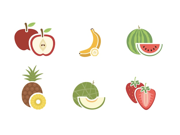 Groep van fruit kleur pictogram op witte achtergrond