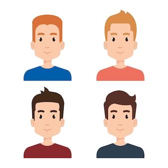 Groep van jonge jongens avatars vector illustratie ontwerp