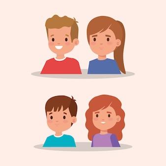 Groep van kleine kinderen avatar karakter