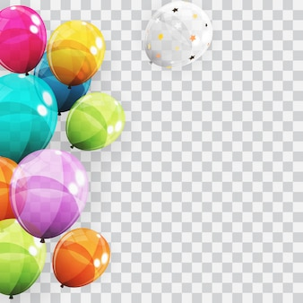 Groep van kleur glanzend helium ballonnen achtergrond. set van ballonnen voor verjaardag, verjaardag, feest decoraties