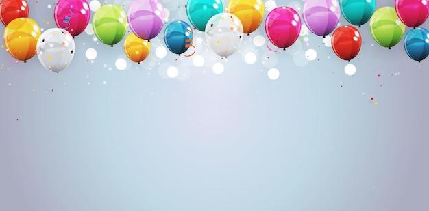 Groep van kleur glanzend helium ballonnen achtergrond