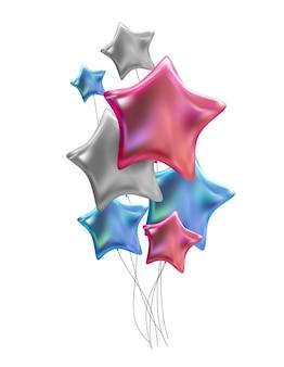 Groep van kleur glanzende helium ballonnen geïsoleerd op een witte achtergrond. vectorillustratie eps10
