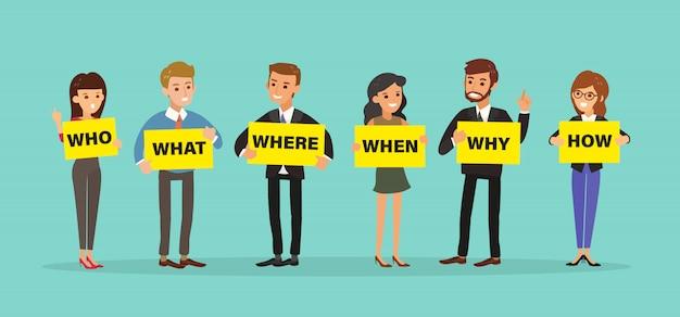Groep van mensen uit het bedrijfsleven houden bord met vragen.
