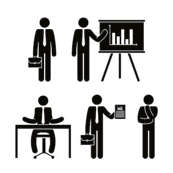 Groep van mensen uit het bedrijfsleven met paperboard teamwork