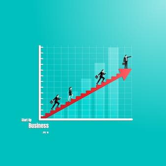 Groep van mensen uit het bedrijfsleven op pijl trap