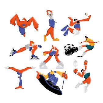Groep van negen atleten die sportkarakters uitoefenen