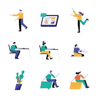 Groep van negen jonge mensen avatars karakters illustratie