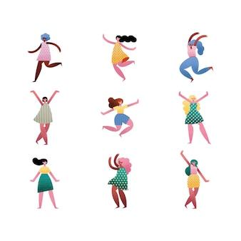 Groep van negen meisjes avatars karakters illustratie