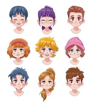 Groep van negen schattige jongeren tieners manga anime karakters illustratie