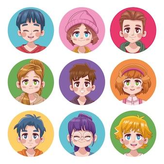 Groep van negen schattige tieners manga anime karakters illustratie