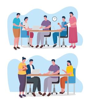 Groep van negen werknemers die bureaukarakters samenwerken