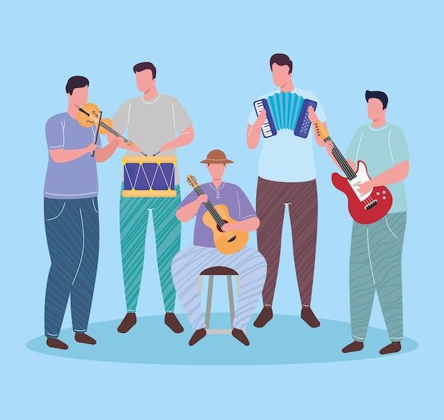 Groep van orkest spelende instrumenten karakters illustratie