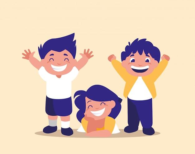 Groep van schattige kinderen avatar karakter