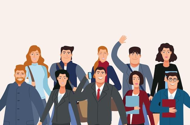 Groep van tien bedrijfspersonen terug naar de illustratie van bureaukarakters Premium Vector