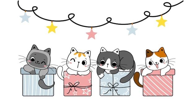 Groep van verschillende rassen schattige kitten kat op pastel geschenkdozen pastel kerstfeest cartoon