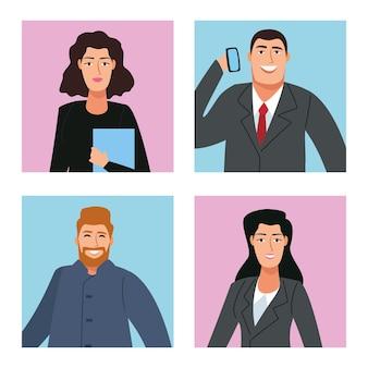 Groep van vier bedrijfspersonen terug naar de illustratie van bureaukarakters