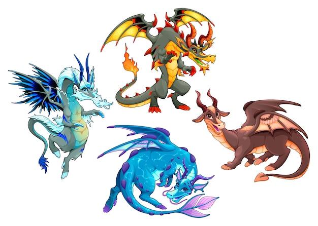 Groep van vier draken. vector fantasie geïsoleerde tekens.