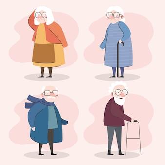 Groep van vier grootouders met behulp van stokken en rollator tekens vector illustratie ontwerp