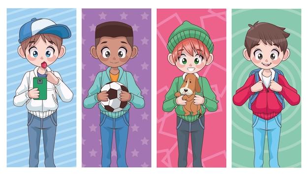 Groep van vier jonge interraciale tieners jongens kinderen karakters illustratie