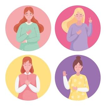 Groep van vier meisjes avatars karakters illustratie