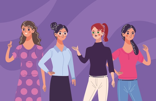 Groep van vier mooie jonge vrouwenkarakters die illustratie vieren
