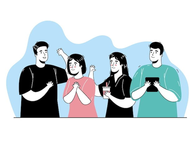 Groep van vier personen die activiteiten doen