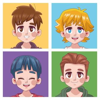 Groep van vier schattige jongeren jongens tieners manga anime hoofden karakters illustratie