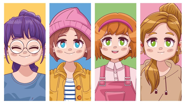 Groep van vier schattige meisjes manga anime illustratie