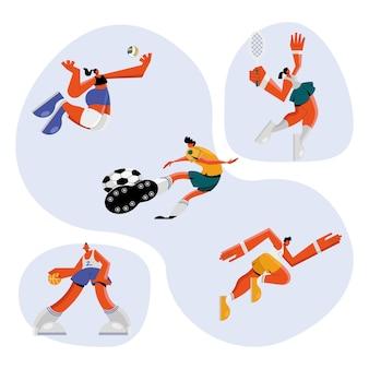 Groep van vijf atleten die het ontwerp van de sportenillustratie uitoefenen