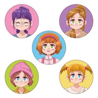 Groep van vijf schattige meisjes manga anime illustratie