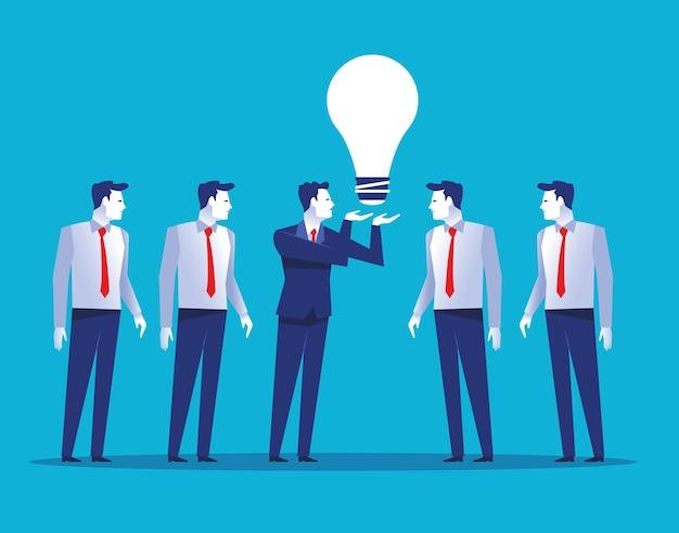 Groep van vijf zakenlieden werknemers avatars karakters illustratie