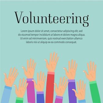 Groep van vrijwilligers verhogen handen. helpend mensenpictogram dat op witte achtergrond wordt geïsoleerd.