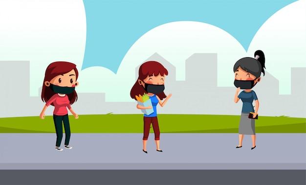 Groep van vrouwelijke slijtage masker hebben sociale afstand tijdens discussie