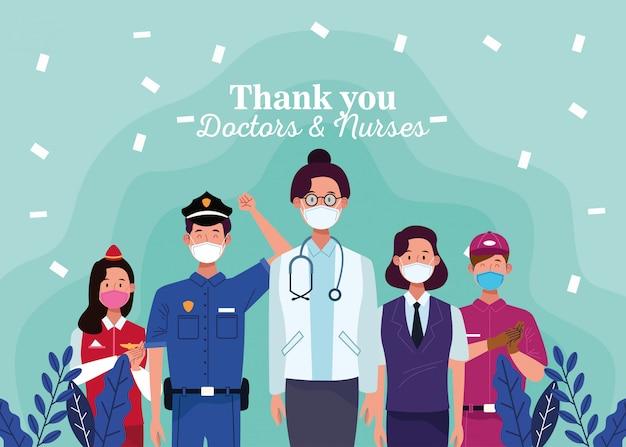 Groep van werknemers met gezichtsmaskers met dank aan artsen en verpleegkundigen bericht
