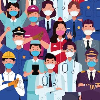 Groep van werknemers met gezichtsmaskers