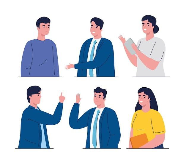 Groep van zes bedrijfsmensenkarakters