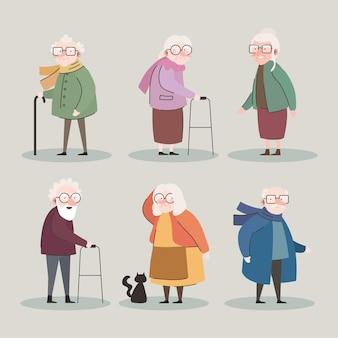 Groep van zes grootouders avatars tekens vector illustratie ontwerp