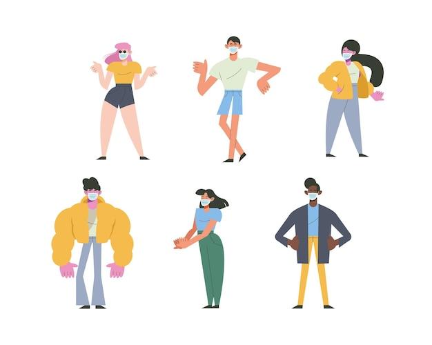Groep van zes jonge mensen die de illustratie van medische maskerskarakters dragen