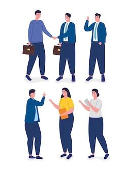 Groep van zes karakters van bedrijfsmensenavatars