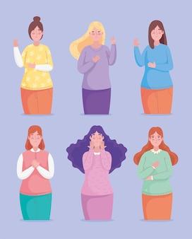 Groep van zes meisjes avatars karakters illustratie