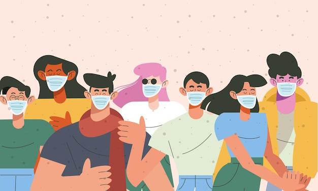 Groep van zeven jonge mensen die de illustratie van medische maskerskarakters dragen