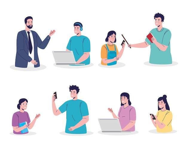 Groep van zeven studenten en de illustratieontwerp van het leraren online onderwijs