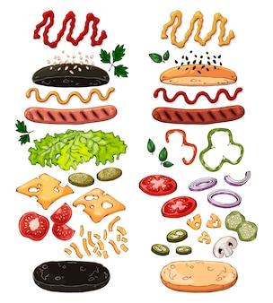 Groep vector geïsoleerde producten voor het koken van hotdogs.