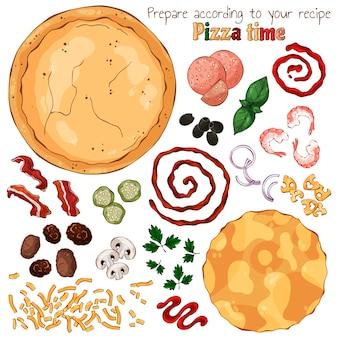 Groep vector geïsoleerde producten voor het koken van pizza.