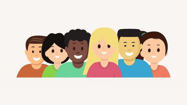 Groep vector geplaatste jonge mensen van het beeldverhaalgezicht