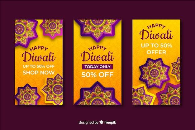Groep verhalen van het diwalifestival instagram